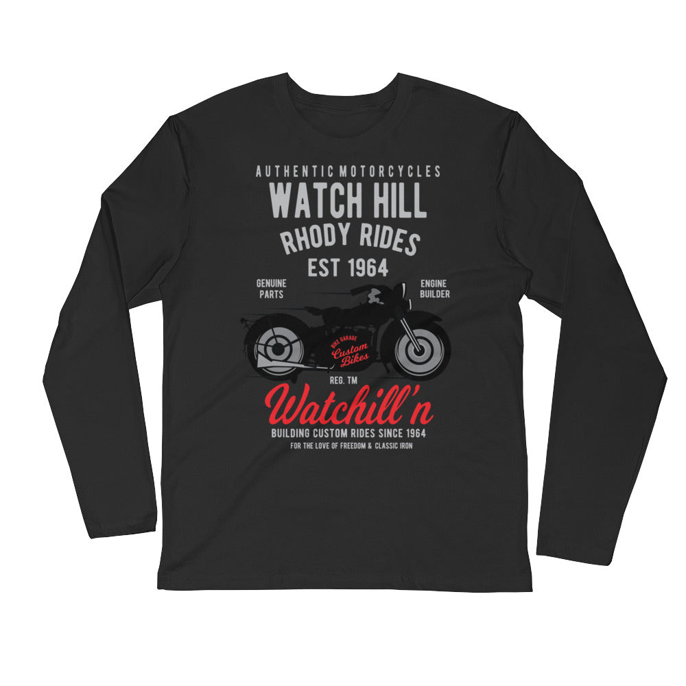 Watchill'n 'Rhody Rides' Premium Long Sleeve Fitted Crew (Grey/Red) - Watchill'n