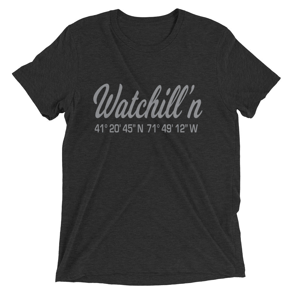 Watchill'n 'Coordinates' Logo Premium Unisex Short Sleeve T-shirt (Grey) - Watch Hill RI t-shirts with vintage surfing and motorcycle designs.