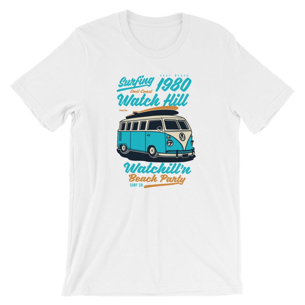 Watchill'n 'Beach Party' - Short-Sleeve Unisex T-Shirt (Turquoise) - Watch Hill RI t-shirts with vintage surfing and motorcycle designs.