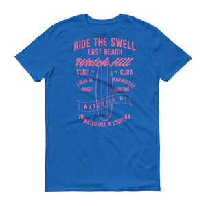 Watchill'n 'Ride the Swell' - Short-Sleeve Unisex T-Shirt (Pink) - Watch Hill RI t-shirts with vintage surfing and motorcycle designs.