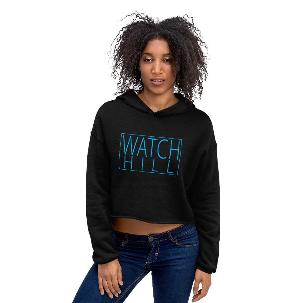Watch Hill 'Rectangular' Logo - Women's Cropped Fleece Hoodie (Cyan) - Watch Hill RI t-shirts with vintage surfing and motorcycle designs.