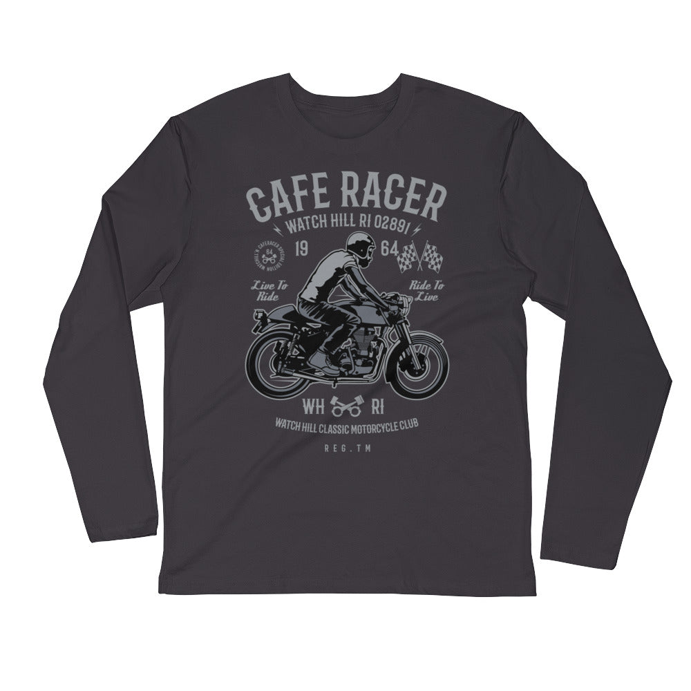 Watchill'n 'Cafe Racer' Premium Long Sleeve Fitted Crew (Grey) - Watchill'n