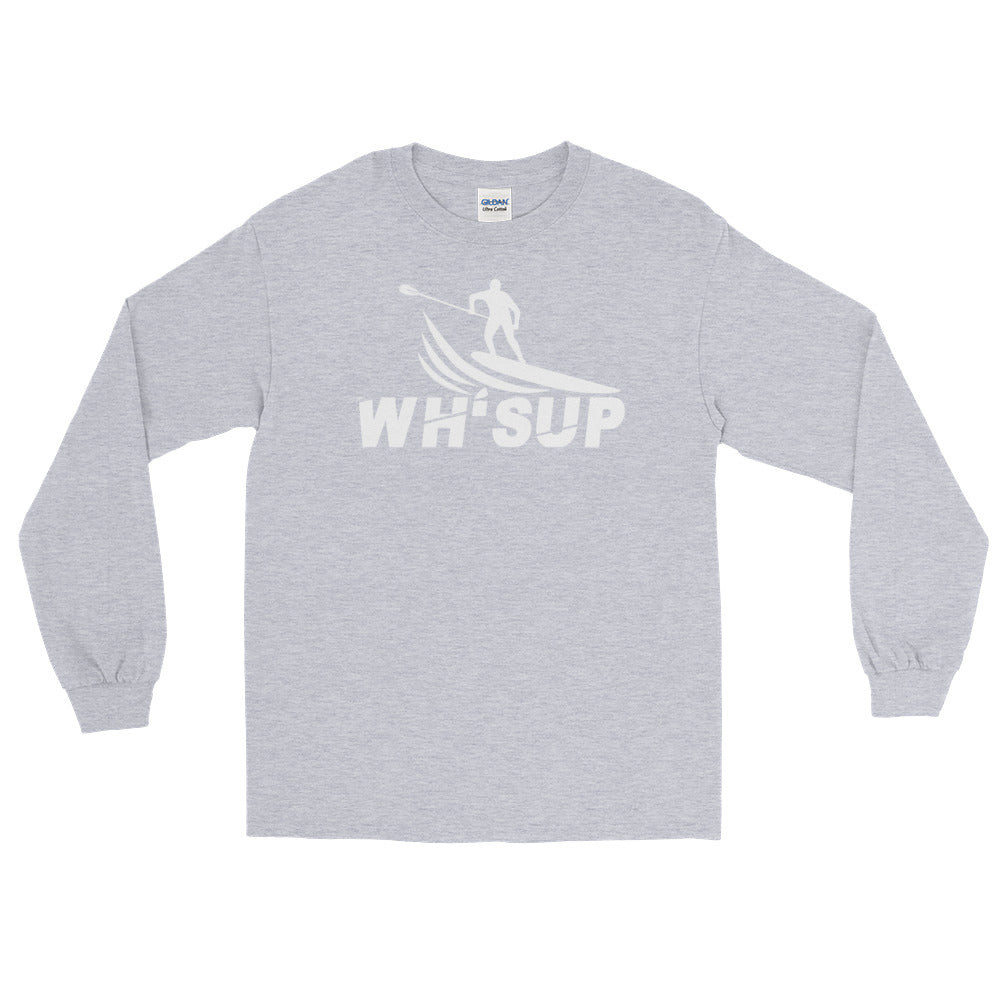 Watchill'n 'WH-SUP Paddle Boarding' - Long Sleeve T-Shirt (White) - Watch Hill RI t-shirts with vintage surfing and motorcycle designs.