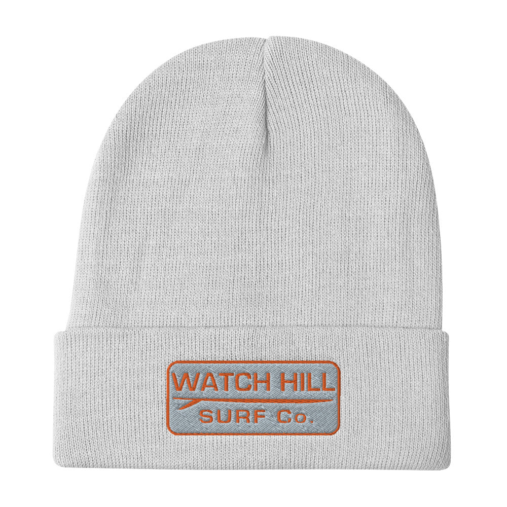 Watch Hill Surf Co. 'Patch Logo' Embroidered Beanie (Orange) - Watch Hill RI t-shirts with vintage surfing and motorcycle designs.