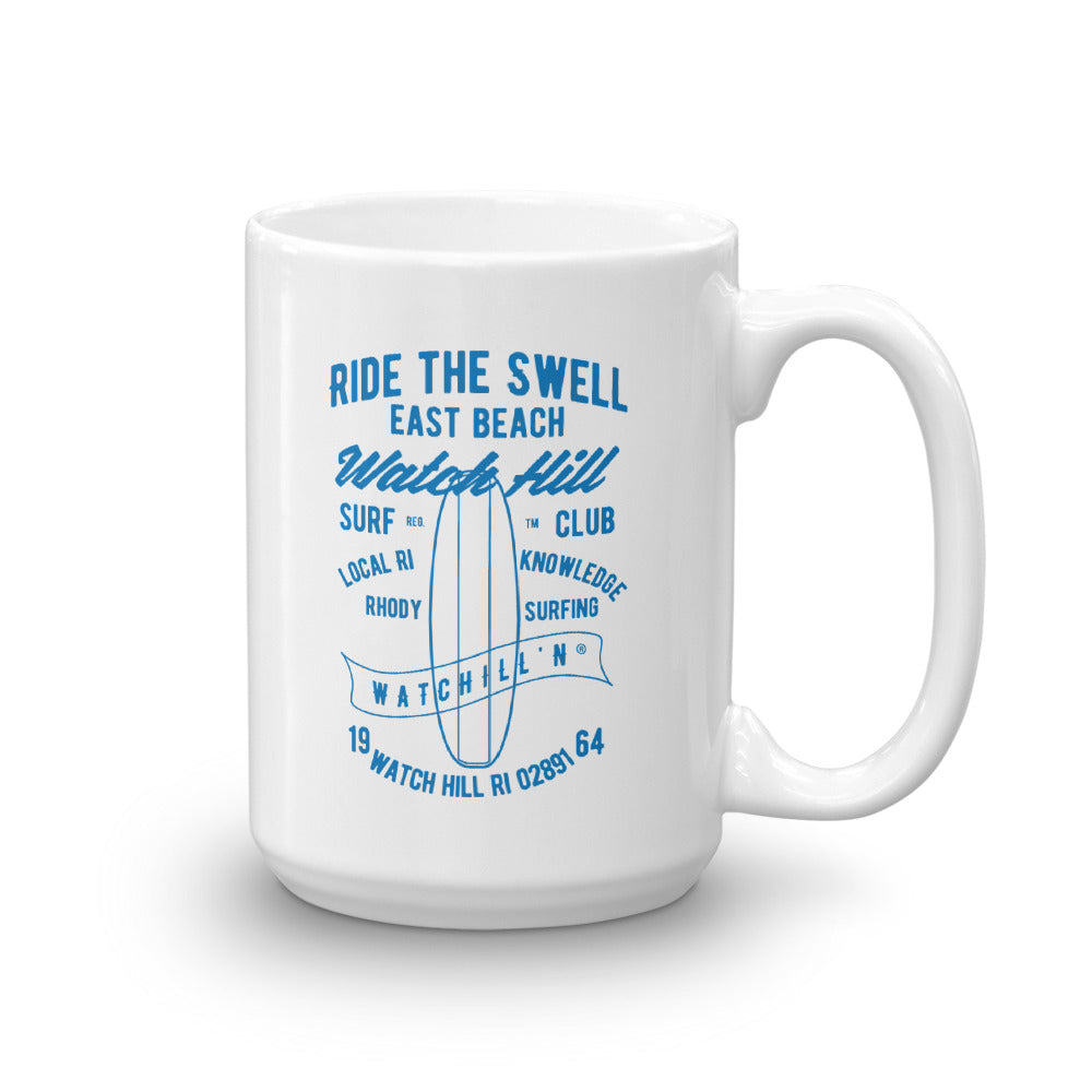 Watchill'n 'Ride the Swell' Ceramic Mug - Cyan - Watch Hill RI t-shirts with vintage surfing and motorcycle designs.