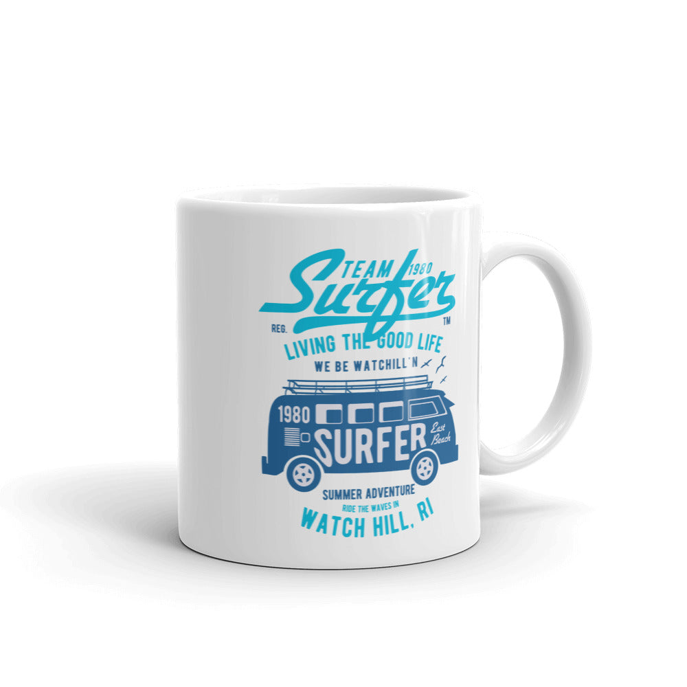 Watchill'n 'Team Surfer' Ceramic Mug - (Cyan/Blue) - Watch Hill RI t-shirts with vintage surfing and motorcycle designs.