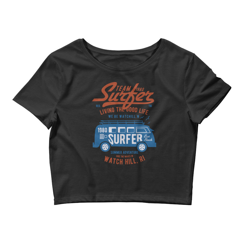 Watchill'n 'Team Surfer' - Women's Crop Tee (Red/Blue) - Watch Hill RI t-shirts with vintage surfing and motorcycle designs.