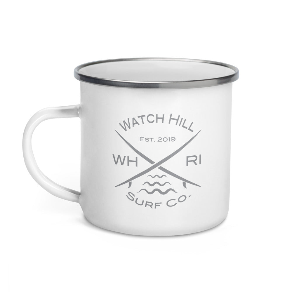 Watch Hill Surf Co. 'Crossed Boards' Enamel Mug (Grey) - Watch Hill RI t-shirts with vintage surfing and motorcycle designs.