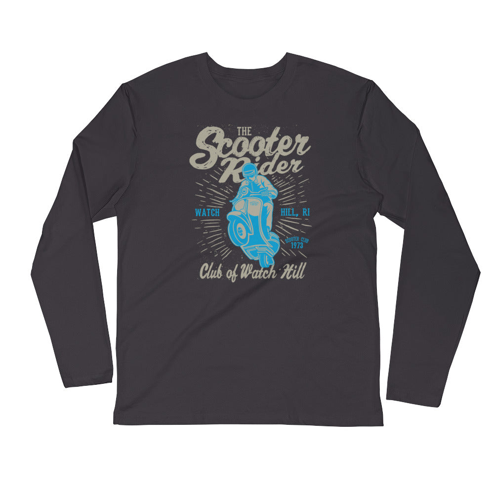 Watchill'n 'Scooter Rider' Premium Long Sleeve Fitted Crew (Grey/Cyan) - Watch Hill RI t-shirts with vintage surfing and motorcycle designs.