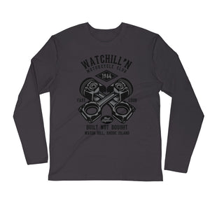 Watchill'n 'Built Not Bought' Premium Long Sleeve Fitted Crew (Black) - Watchill'n