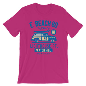 Watchill'n 'Beach Buggy' - Short-Sleeve Unisex T-Shirt (Navy) - Watch Hill RI t-shirts with vintage surfing and motorcycle designs.