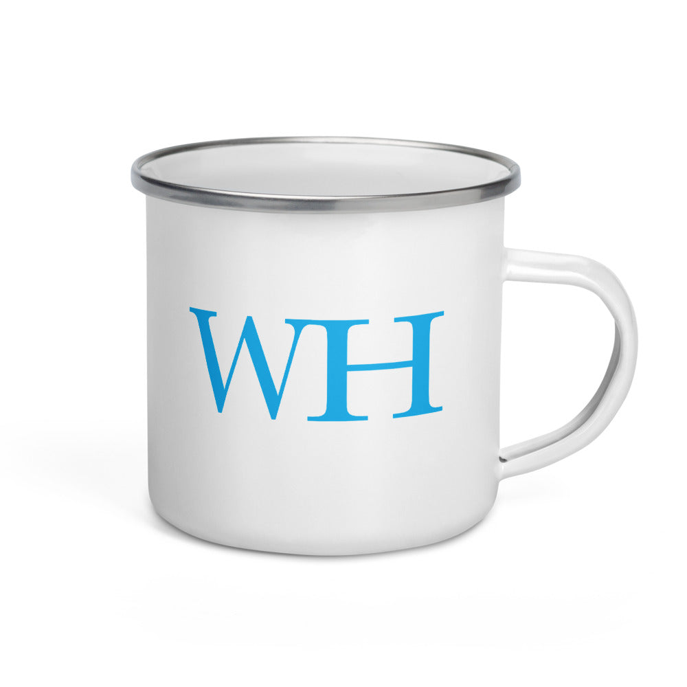 Watch Hill 'WH' Logo Enamel Mug (Cyan) - Watch Hill RI t-shirts with vintage surfing and motorcycle designs.