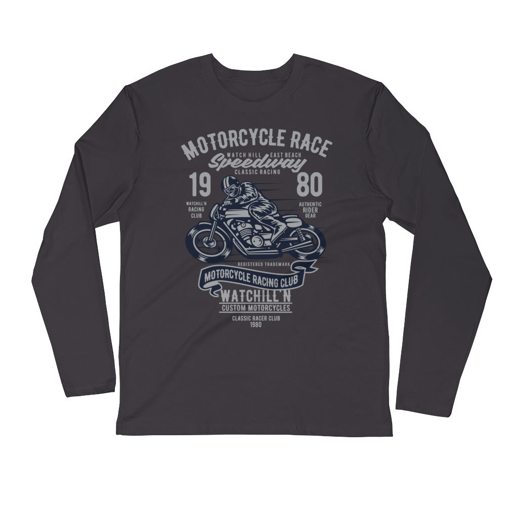 Watchill'n 'Speedway' Premium Long Sleeve Fitted Crew (Grey/Navy) - Watchill'n