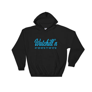Watchill'n 'Coordinates' Logo - Hoodie (Cyan) - Watch Hill RI t-shirts with vintage surfing and motorcycle designs.