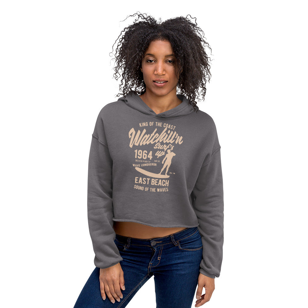Watchill'n 'Surf's Up' - Women's Cropped Fleece Hoodie (Tan) - Watch Hill RI t-shirts with vintage surfing and motorcycle designs.