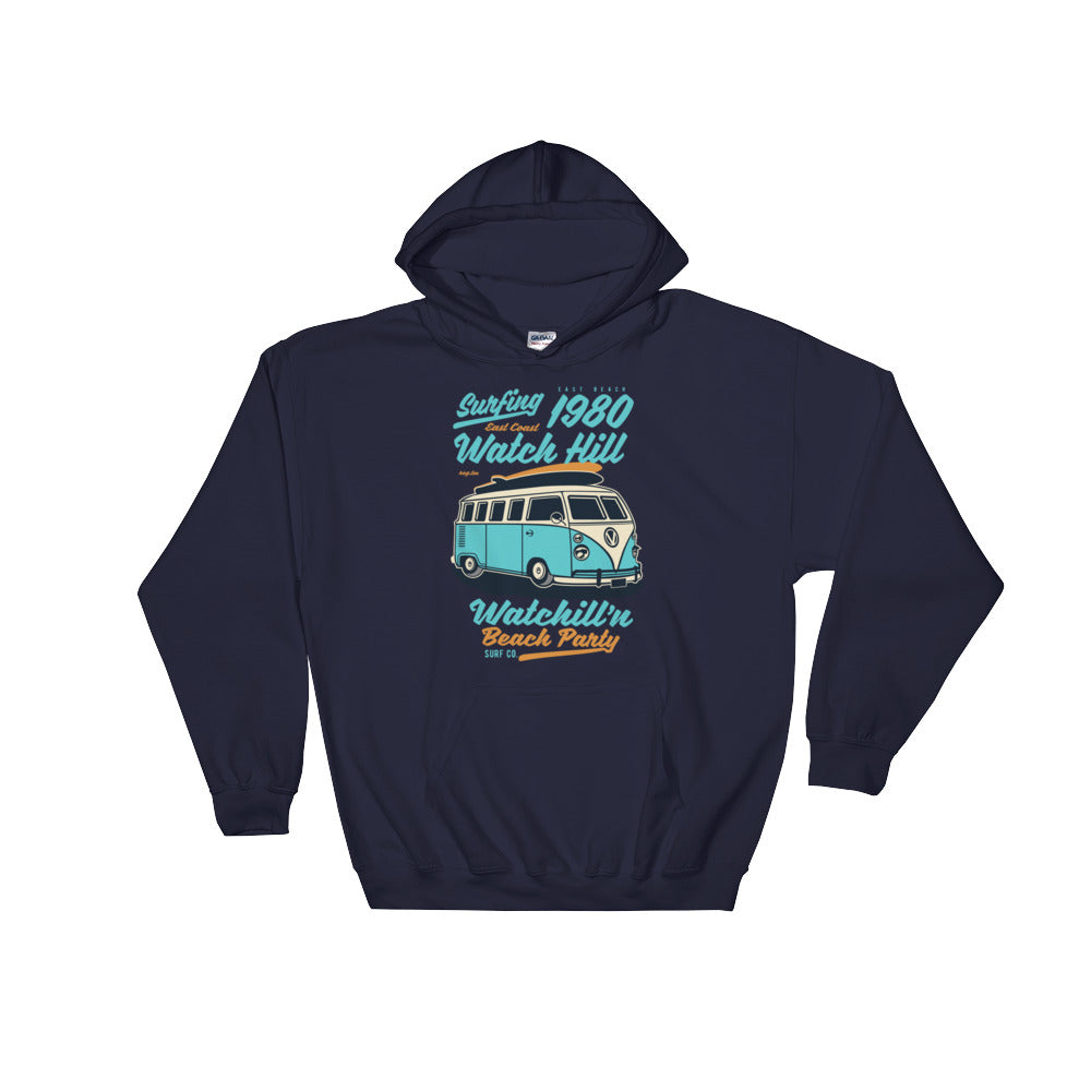 Watchill'n 'Beach Party' - Hoodie (Turquoise) - Watch Hill RI t-shirts with vintage surfing and motorcycle designs.