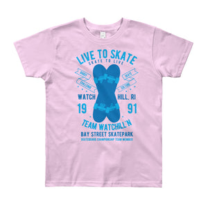 Watchill'n 'Live to Skate' - Youth Short Sleeve T-Shirt (Blue) - Watch Hill RI t-shirts with vintage surfing and motorcycle designs.