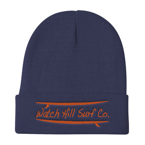 Watch Hill Surf Co. 'Parallel Boards' Embroidered Beanie (Orange) - Watch Hill RI t-shirts with vintage surfing and motorcycle designs.