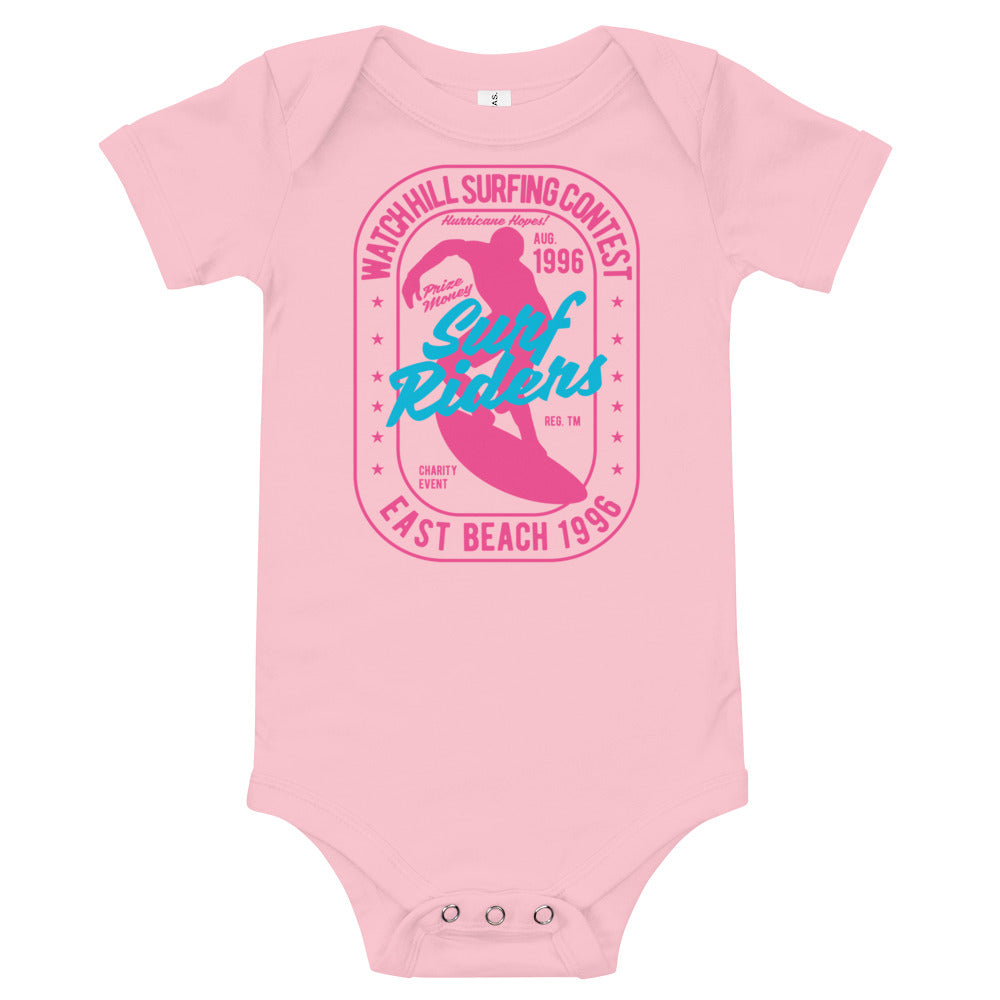 Watchill'n 'Surf Rider' - Baby Jersey Short Sleeve One Piece (Pink) - Watch Hill RI t-shirts with vintage surfing and motorcycle designs.