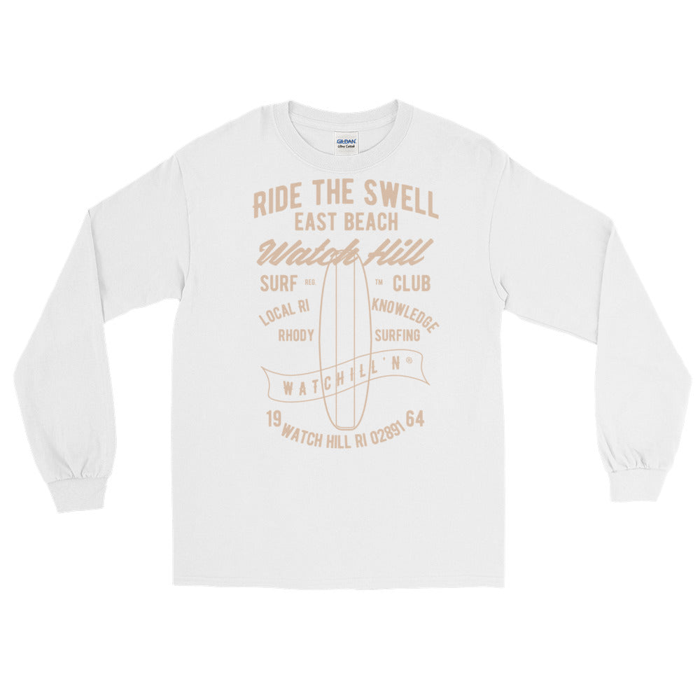 Watchill'n 'Ride the Swell' - Long-Sleeve T-Shirt (Khaki) - Watch Hill RI t-shirts with vintage surfing and motorcycle designs.