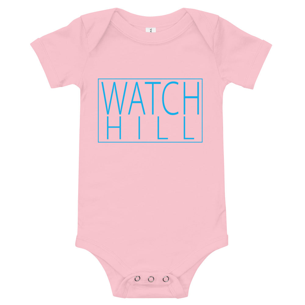 Watch Hill 'Rectangle Logo' - Baby Jersey Short Sleeve One Piece (Cyan) - Watch Hill RI t-shirts with vintage surfing and motorcycle designs.