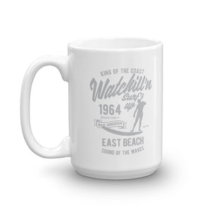 Watchill'n 'Surfs Up' Ceramic Mug - (Grey) - Watch Hill RI t-shirts with vintage surfing and motorcycle designs.