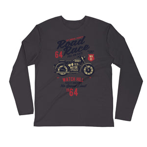 Watchill'n 'Road Race' Premium Long Sleeve Fitted Crew (Maroon/Black) - Watch Hill RI t-shirts with vintage surfing and motorcycle designs.