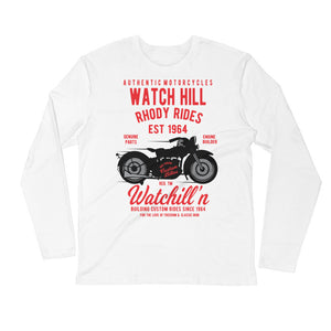 Watchill'n 'Rhody Rides' Premium Long Sleeve Fitted Crew (Red) - Watch Hill RI t-shirts with vintage surfing and motorcycle designs.