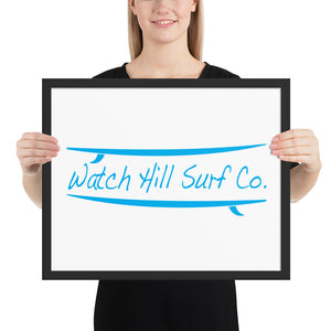 Watch Hill Surf Co., Framed poster - Watch Hill RI t-shirts with vintage surfing and motorcycle designs.