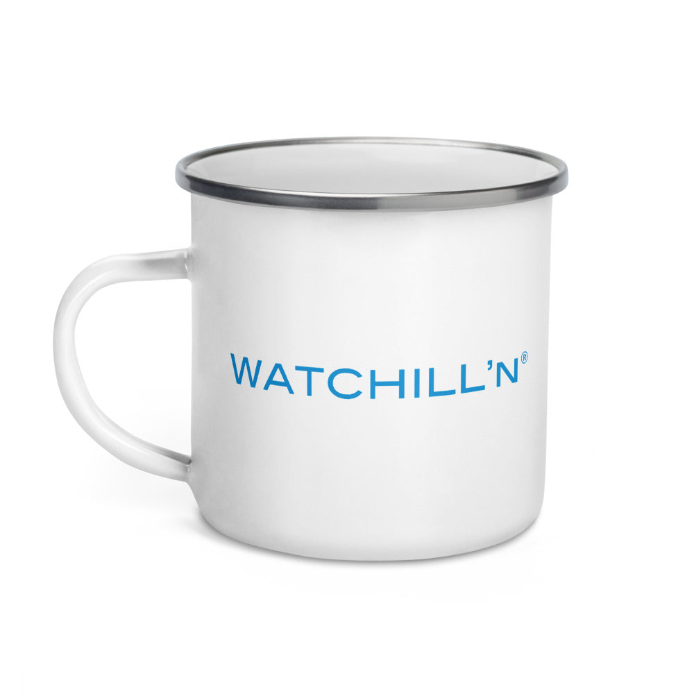 Watchill'n 'New School' Logo Enamel Mug (Cyan) - Watch Hill RI t-shirts with vintage surfing and motorcycle designs.