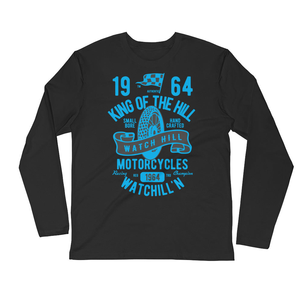 Watchill'n 'King of the Hill' Premium Long Sleeve Fitted Crew (Blue) - Watch Hill RI t-shirts with vintage surfing and motorcycle designs.
