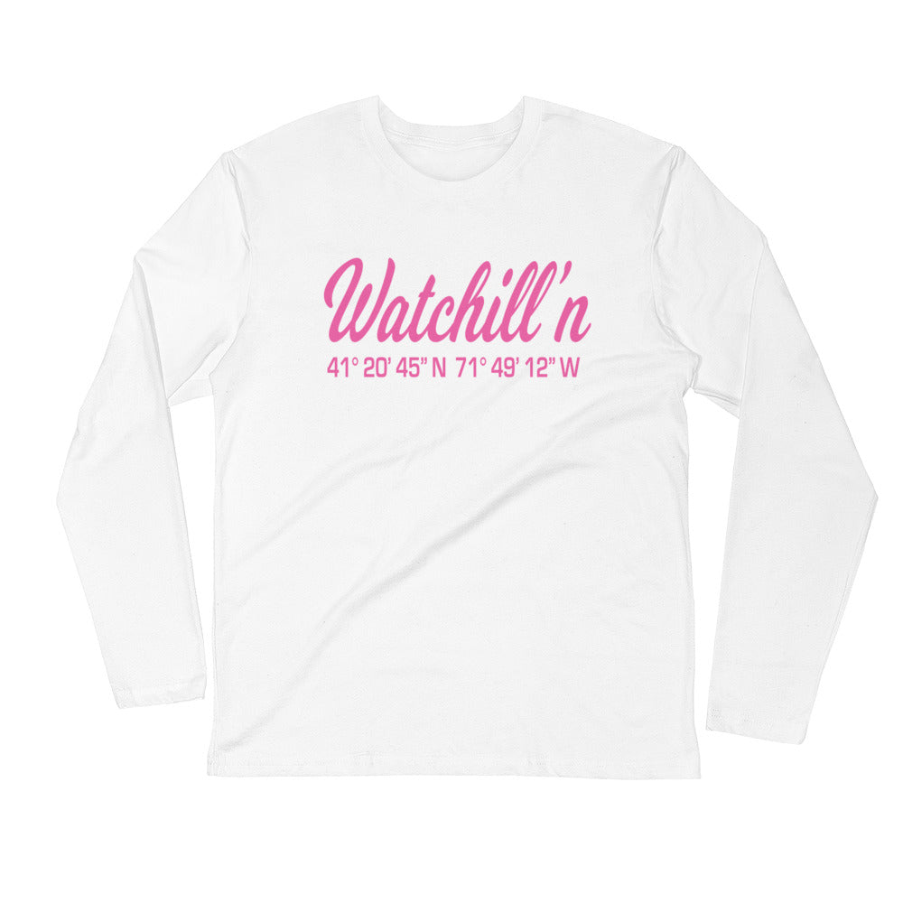 Watchill'n 'Coordinates' Logo Premium Long Sleeve Fitted Crew (Pink) - Watch Hill RI t-shirts with vintage surfing and motorcycle designs.