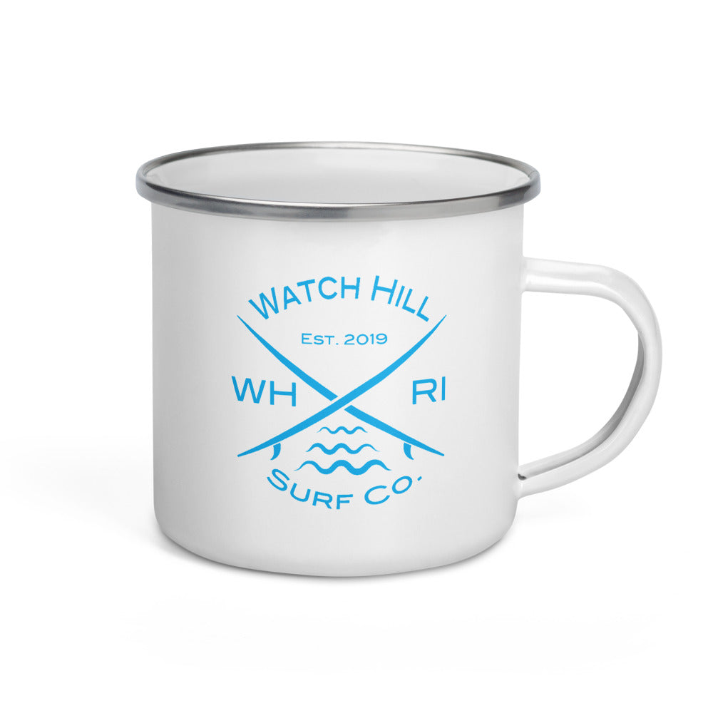 Watch Hill Surf Co. 'Crossed Boards' Enamel Mug (Cyan) - Watch Hill RI t-shirts with vintage surfing and motorcycle designs.