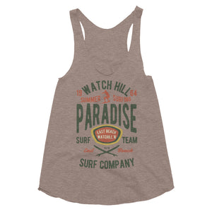Watchill'n 'Summer Surfing' - Women's Tri-Blend Racerback Tank (Green/Terracotta) - Watch Hill RI t-shirts with vintage surfing and motorcycle designs.