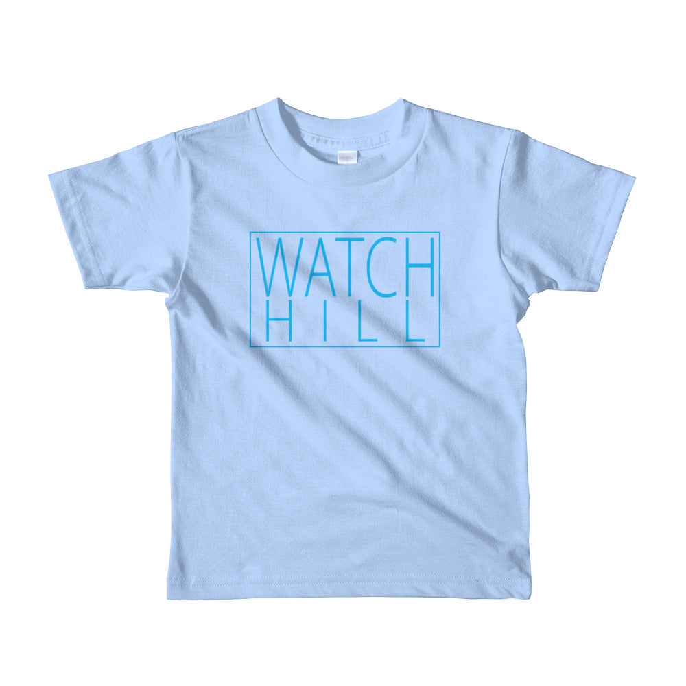 Watch Hill 'Rectangular Logo' - Short sleeve kids t-shirt (Cyan) - Watch Hill RI t-shirts with vintage surfing and motorcycle designs.