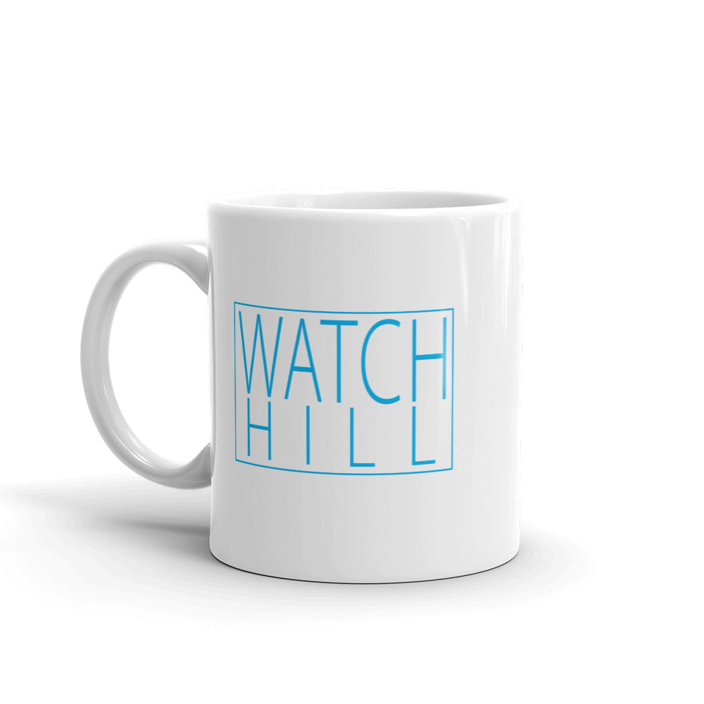 Watch Hill 'Box Logo' Ceramic Mug - (Cyan) - Watch Hill RI t-shirts with vintage surfing and motorcycle designs.