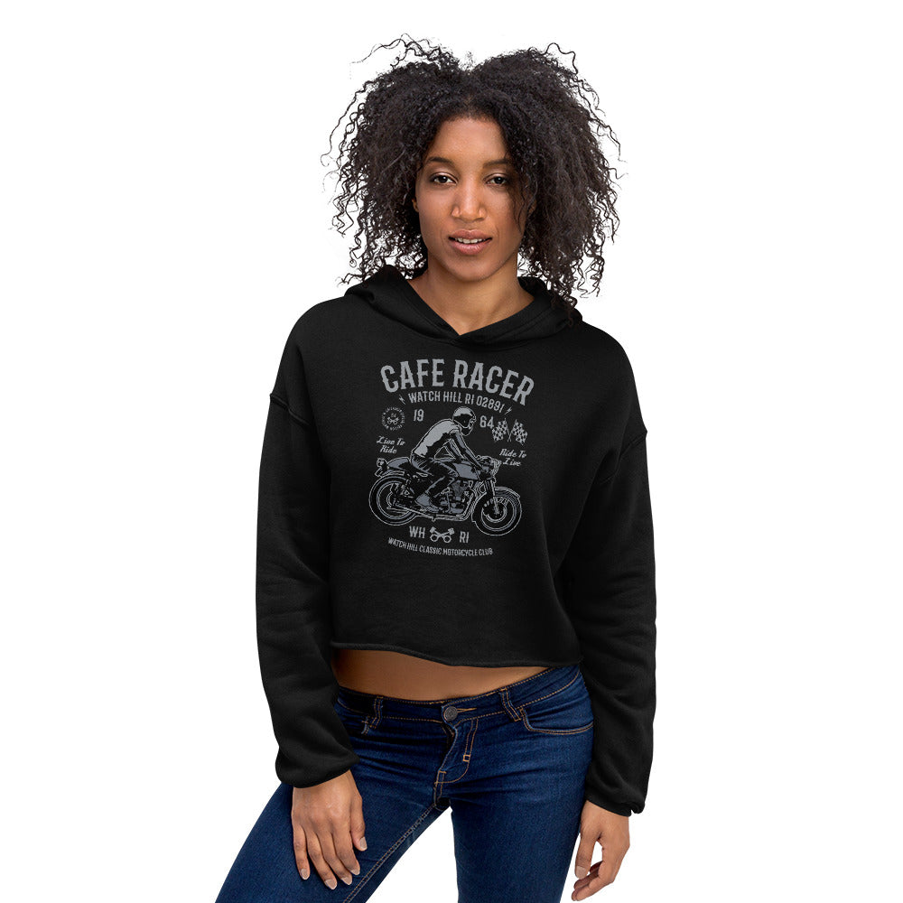 Watchill'n 'Cafe Racer' - Women's Cropped Fleece Hoodie (Grey) - Watch Hill RI t-shirts with vintage surfing and motorcycle designs.