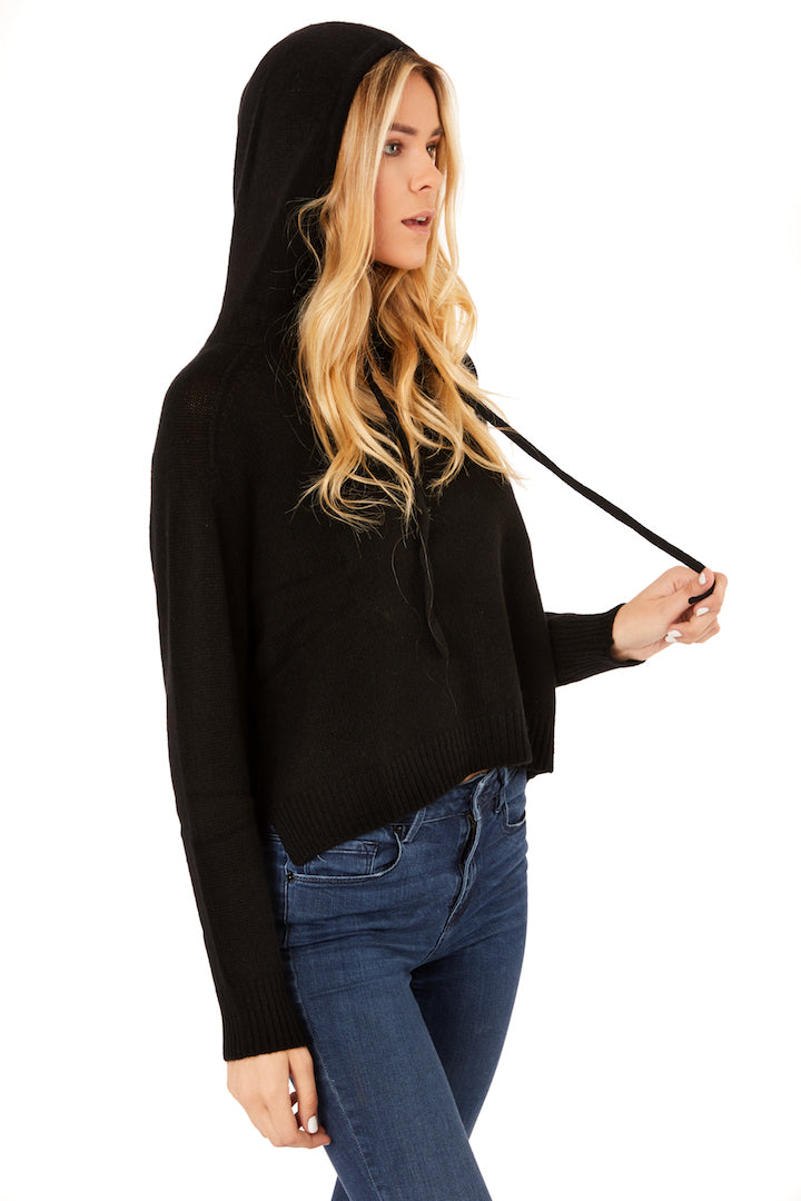 Black Cashmere Pullover Hoodie