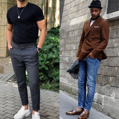 Luxe Clothing, Colorado, Miami, New York - Styled men wearing crop pants and blazer.