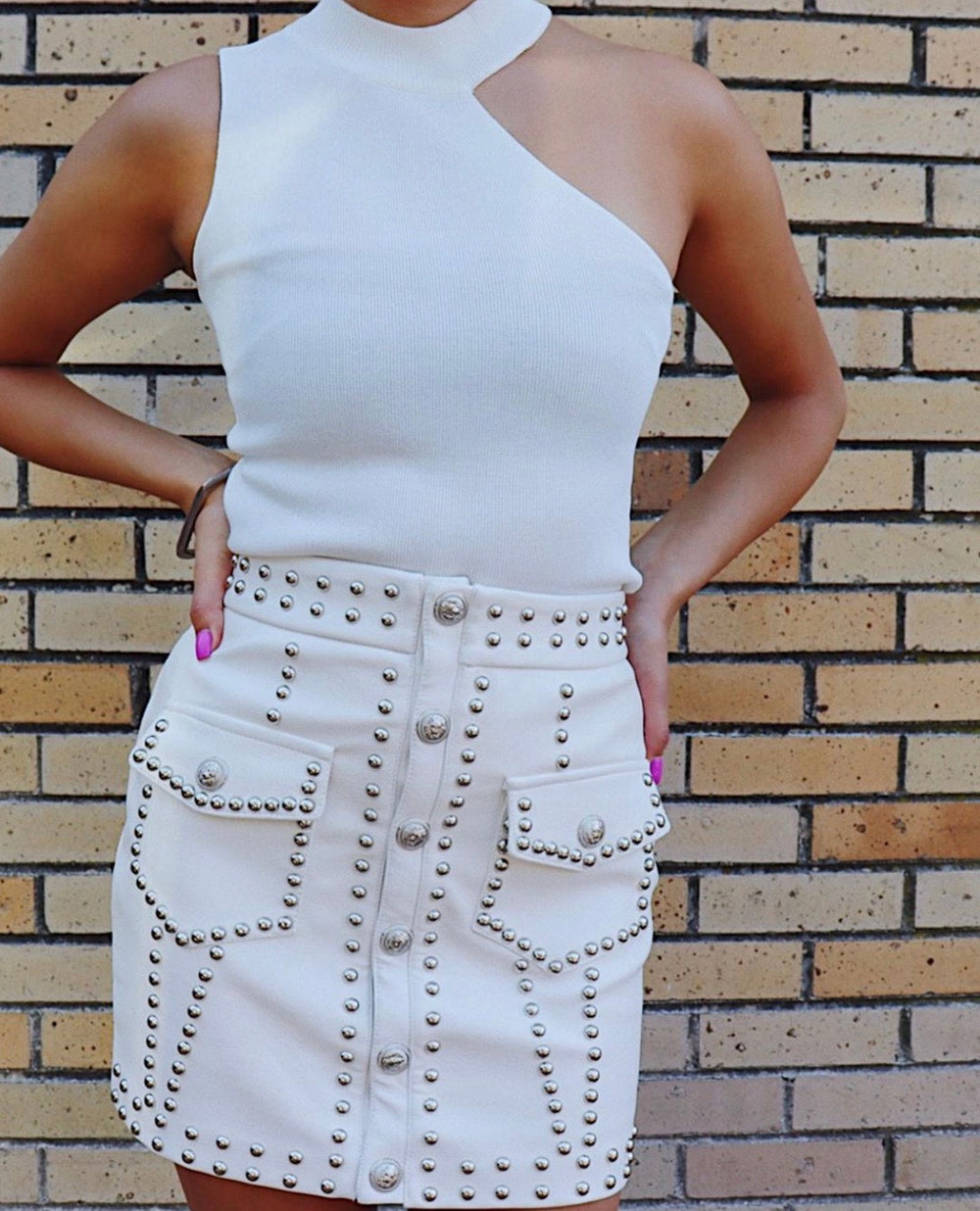 Punk chic leather mini skirt
