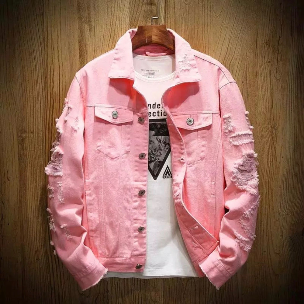 Distressed Pink Panther denim jacket