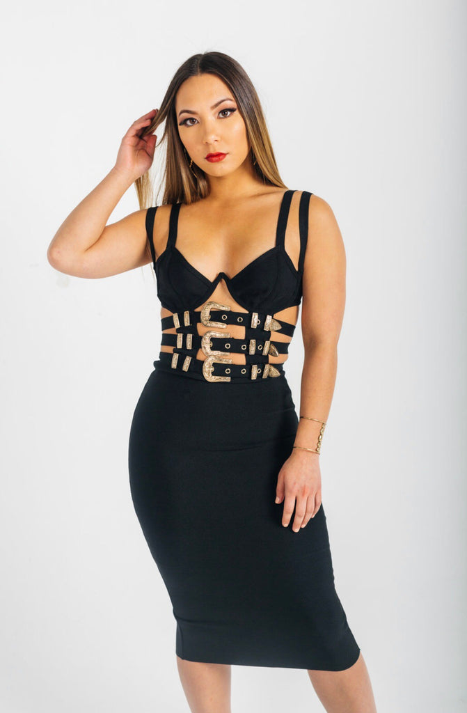 Buckle bandage dress