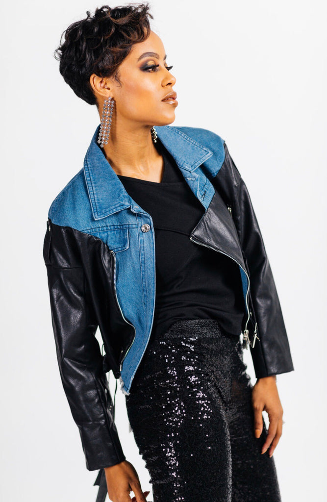 Bi-popular moto denim jacket