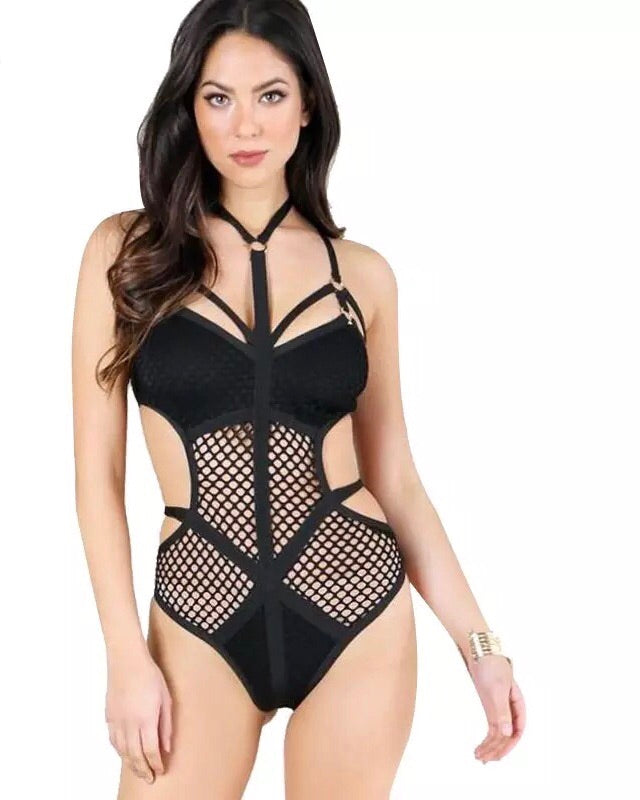 Perforated strappy bandage bodysuit