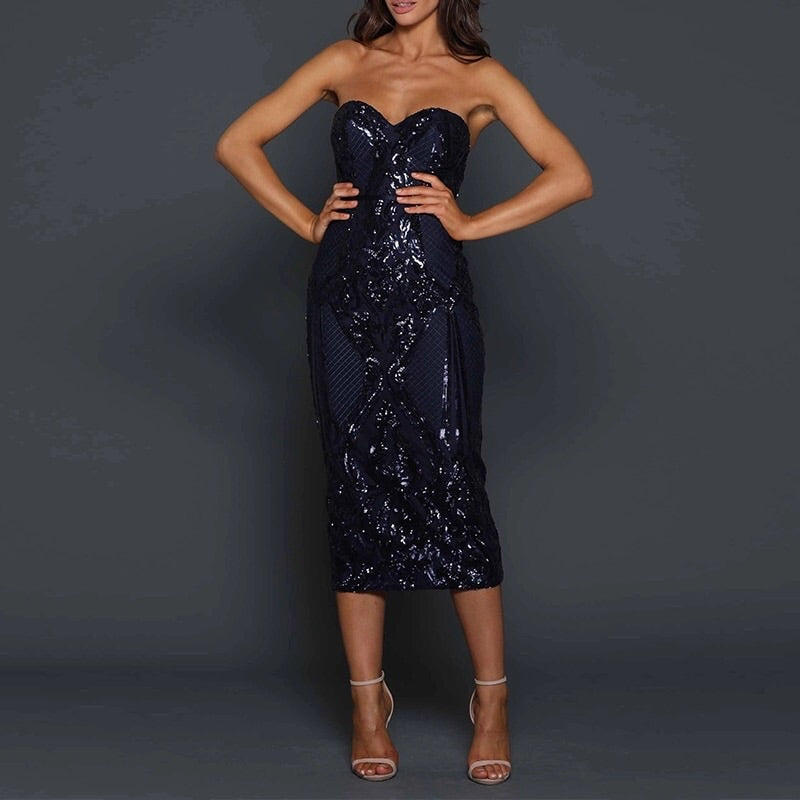 Midnight Deco midi dress