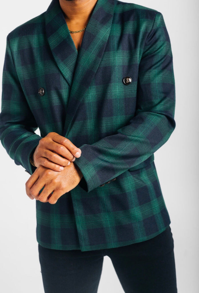 Green double breasted plaid blazer