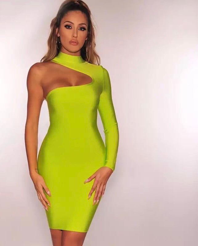 Asymmetrical long sleeve bandage dress