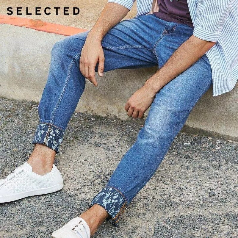 Selected Denim floral cuff pant