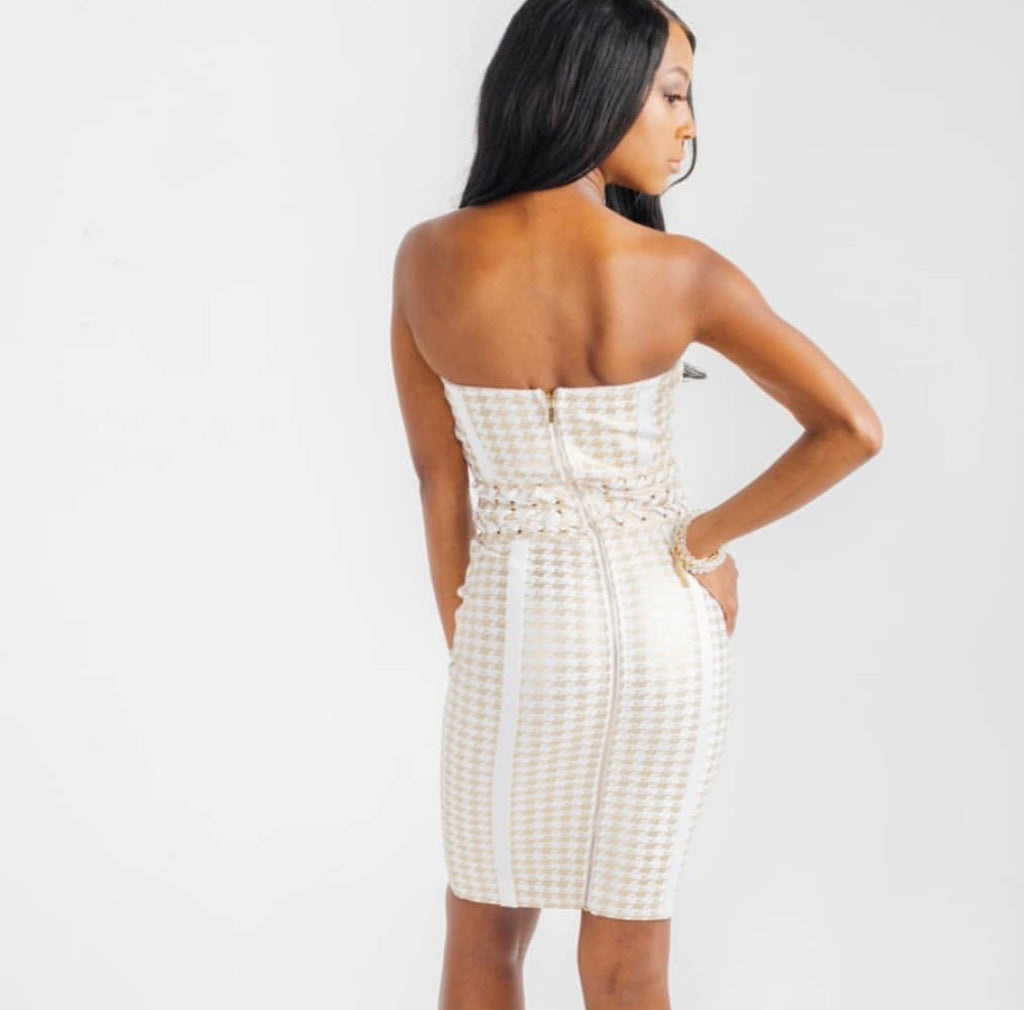 Houndstooth bandage dress