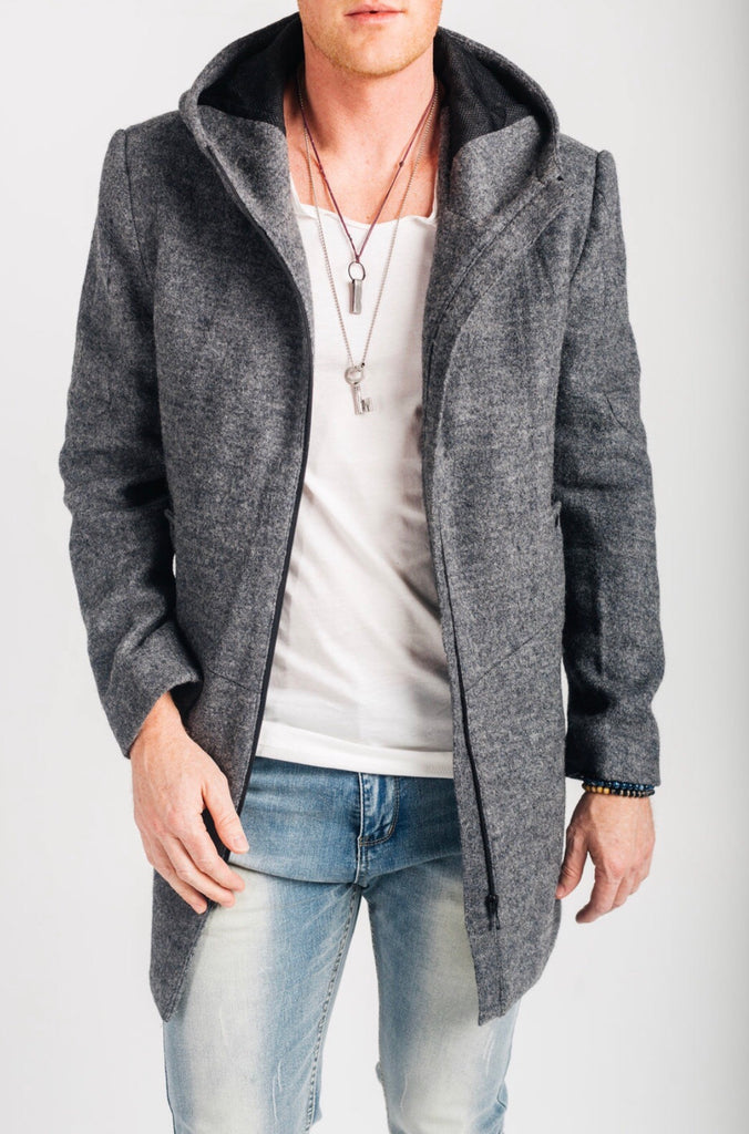 Wool blend sleeveless hoody jacket